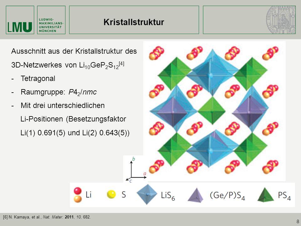 Kristallstruktur Ausschnitt aus der Kristallstruktur des 3D-Netzwerkes von Li10GeP2S12[4] Tetragonal.